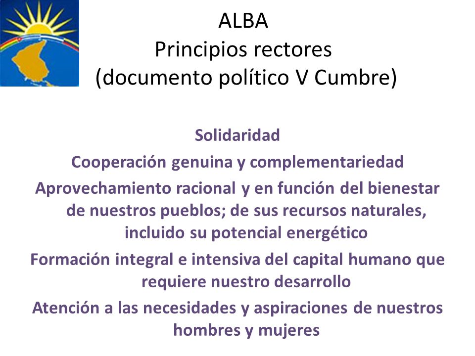 ALBA Principios rectores (documento político V Cumbre)
