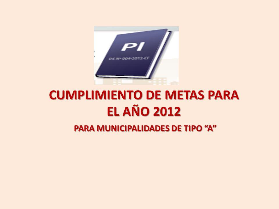 CUMPLIMIENTO DE METAS PARA EL AÑO 2012 PARA MUNICIPALIDADES DE TIPO A