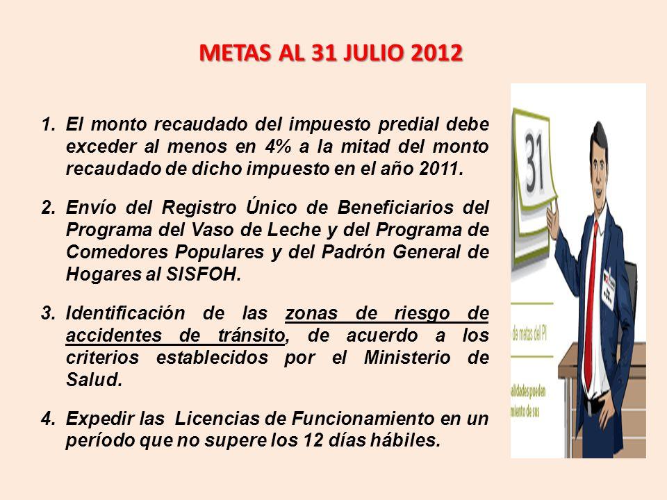 METAS AL 31 JULIO 2012