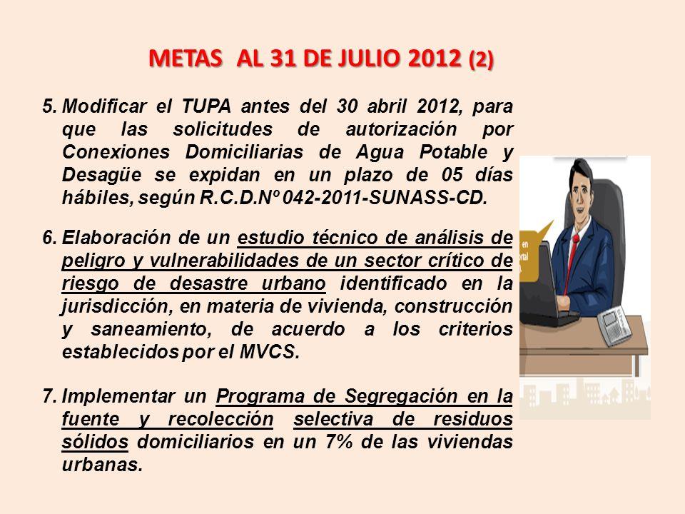 METAS AL 31 DE JULIO 2012 (2)