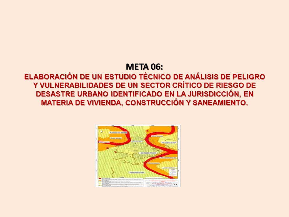 META 06: ELABORACIÓN DE UN ESTUDIO TÉCNICO DE ANÁLISIS DE PELIGRO Y VULNERABILIDADES DE UN SECTOR CRÍTICO DE RIESGO DE DESASTRE URBANO IDENTIFICADO EN LA JURISDICCIÓN, EN MATERIA DE VIVIENDA, CONSTRUCCIÓN Y SANEAMIENTO.