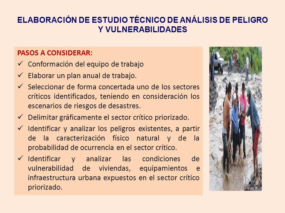 ELABORACIÓN DE ESTUDIO TÉCNICO DE ANÁLISIS DE PELIGRO Y VULNERABILIDADES