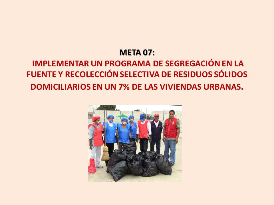 META 07: IMPLEMENTAR UN PROGRAMA DE SEGREGACIÓN EN LA FUENTE Y RECOLECCIÓN SELECTIVA DE RESIDUOS SÓLIDOS DOMICILIARIOS EN UN 7% DE LAS VIVIENDAS URBANAS.