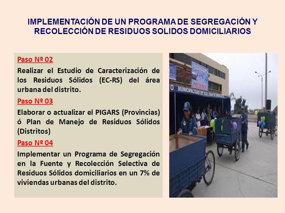 IMPLEMENTACIÓN DE UN PROGRAMA DE SEGREGACIÓN Y RECOLECCIÓN DE RESIDUOS SOLIDOS DOMICILIARIOS