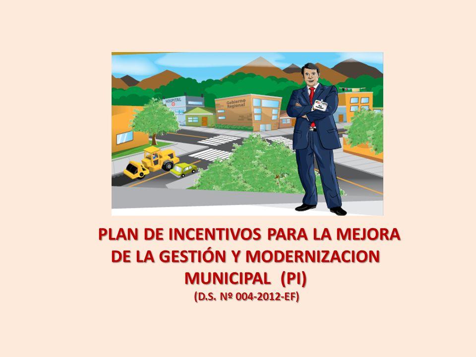 PLAN DE INCENTIVOS PARA LA MEJORA DE LA GESTIÓN Y MODERNIZACION MUNICIPAL (PI) (D.S. Nº 004-2012-EF)