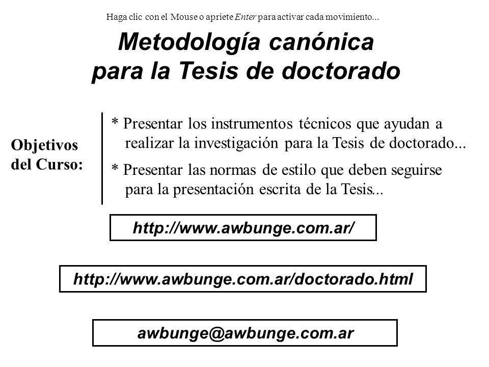 Metodología canónica para la Tesis de doctorado
