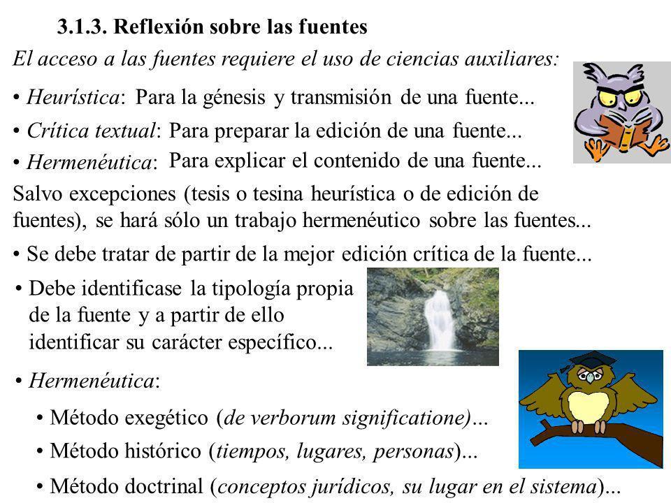3.1.3. Reflexión sobre las fuentes