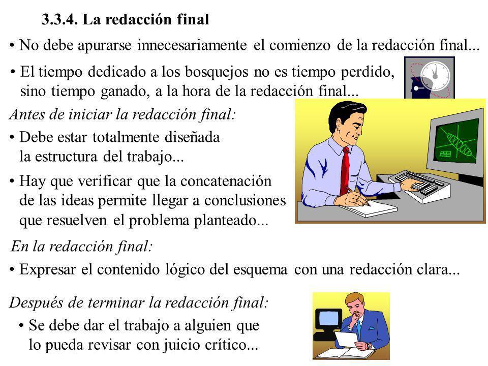 3.3.4. La redacción final No debe apurarse innecesariamente el comienzo de la redacción final...