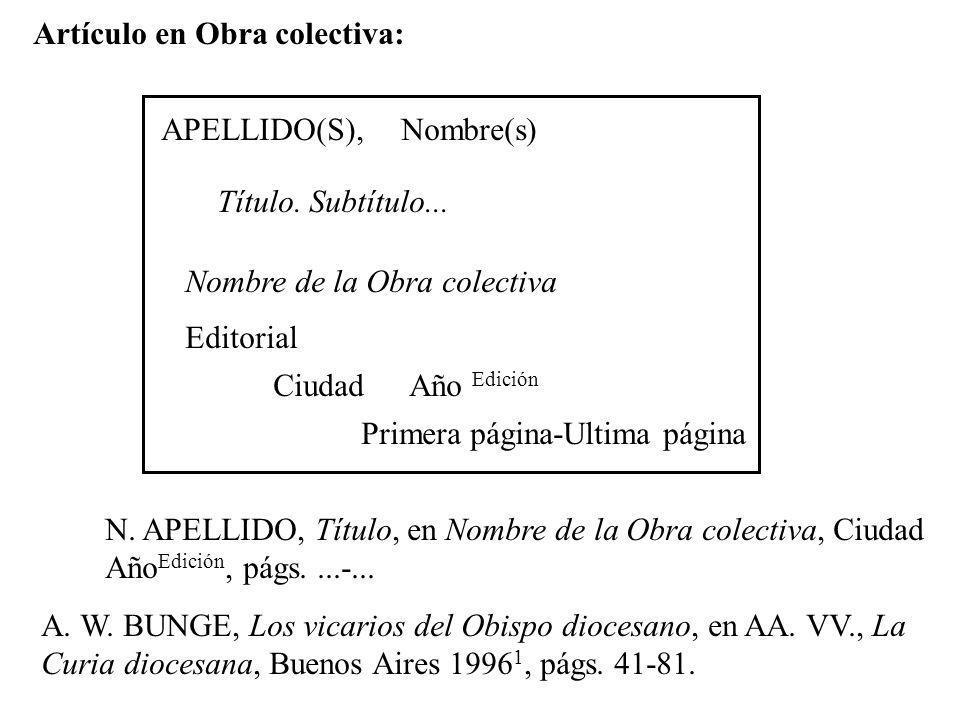 Artículo en Obra colectiva: