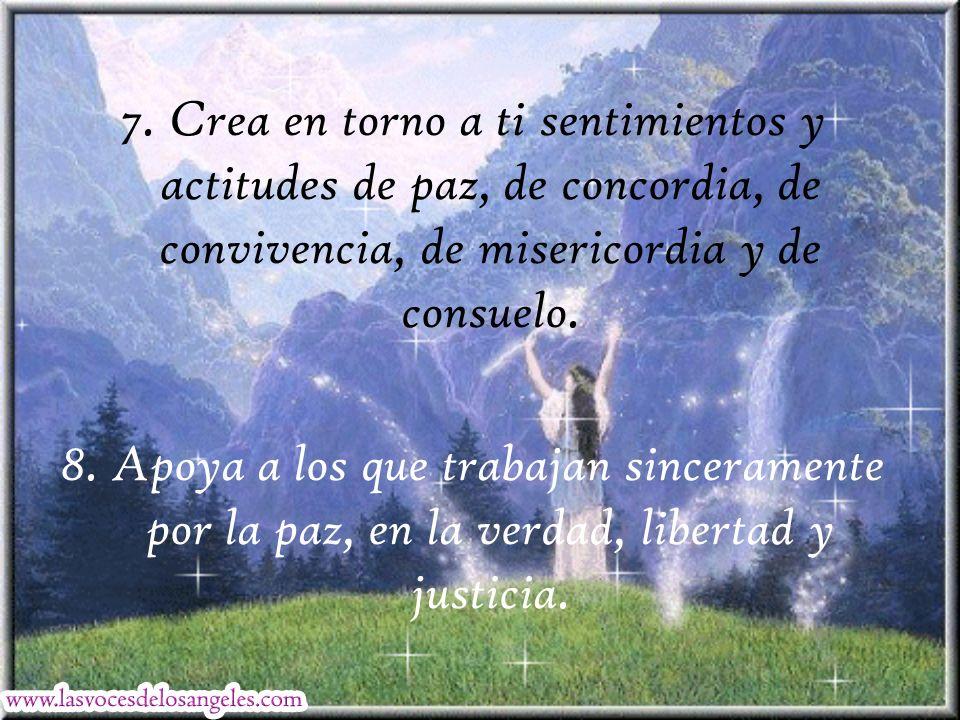 7. Crea en torno a ti sentimientos y actitudes de paz, de concordia, de convivencia, de misericordia y de consuelo.