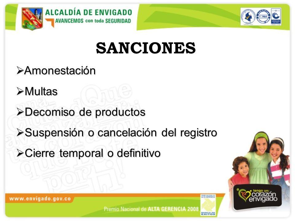 SANCIONES Amonestación Multas Decomiso de productos