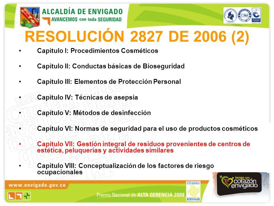 RESOLUCIÓN 2827 DE 2006 (2) Capítulo I: Procedimientos Cosméticos