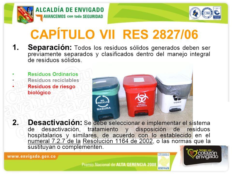 CAPÍTULO VII RES 2827/06