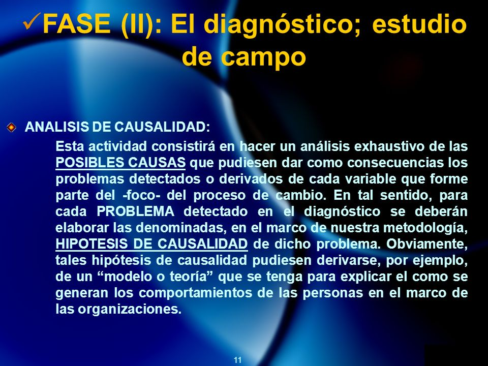 FASE (II): El diagnóstico; estudio de campo