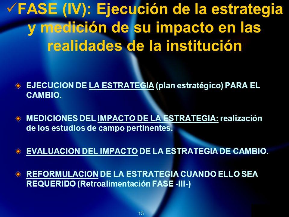 FASE (IV): Ejecución de la estrategia y medición de su impacto en las realidades de la institución