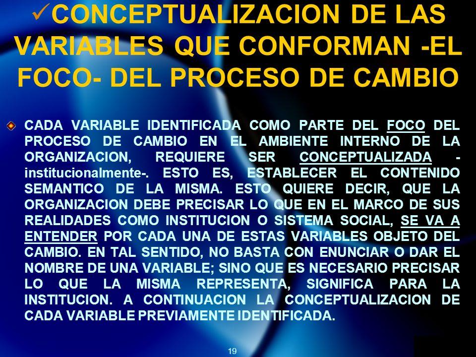 CONCEPTUALIZACION DE LAS VARIABLES QUE CONFORMAN -EL FOCO- DEL PROCESO DE CAMBIO
