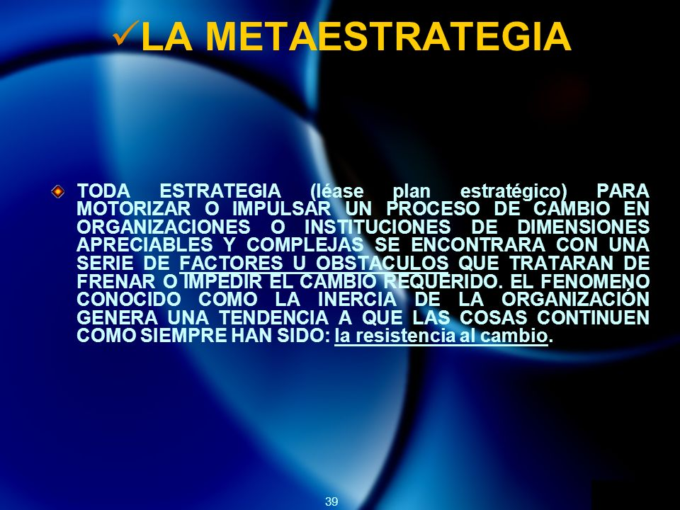 LA METAESTRATEGIA
