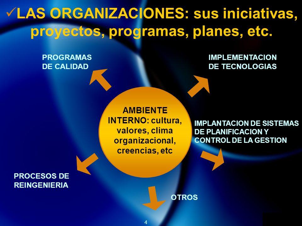 LAS ORGANIZACIONES: sus iniciativas, proyectos, programas, planes, etc.