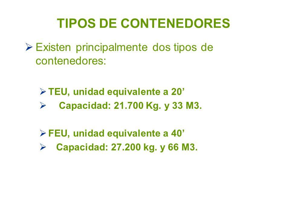 TIPOS DE CONTENEDORES Existen principalmente dos tipos de contenedores: TEU, unidad equivalente a 20'