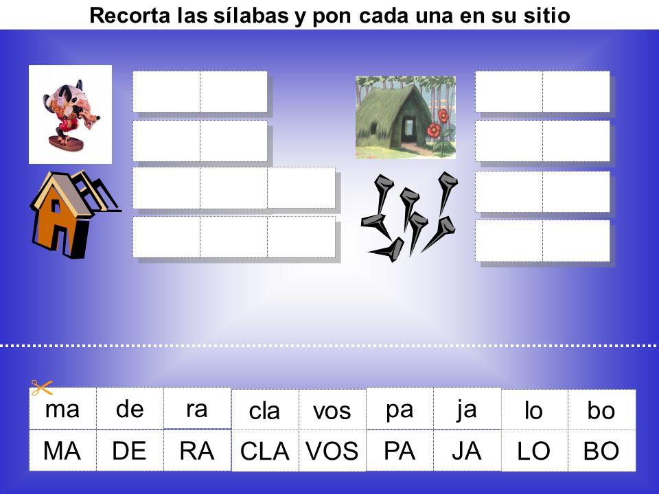 Recorta las sílabas y pon cada una en su sitio