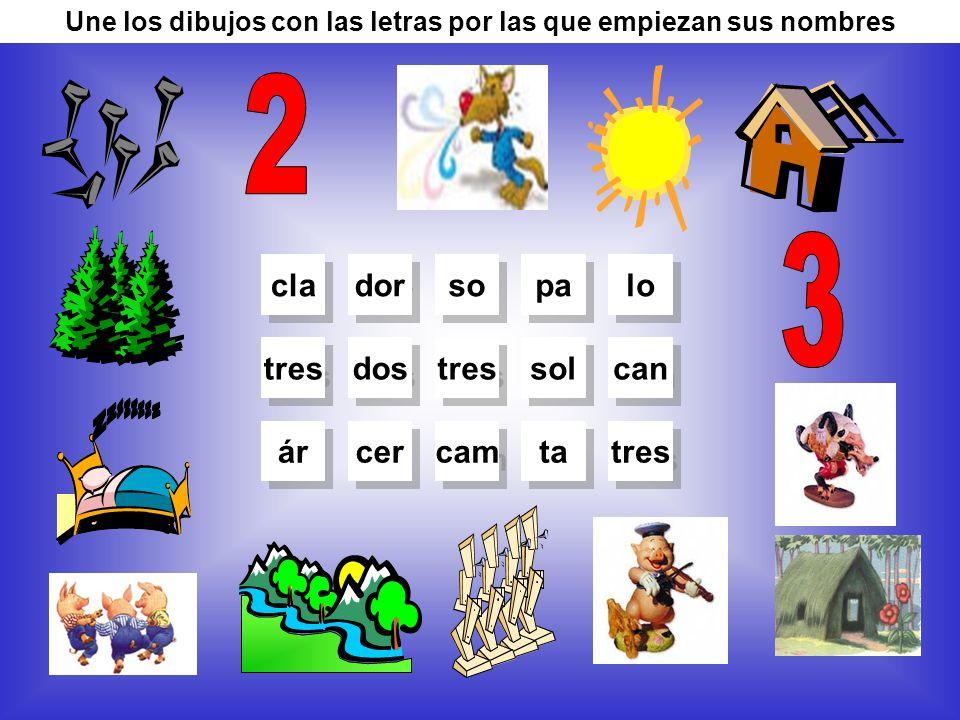 Une los dibujos con las letras por las que empiezan sus nombres