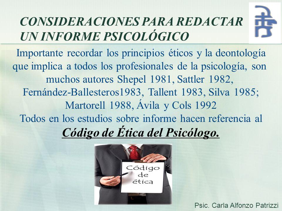 Código de Ética del Psicólogo.