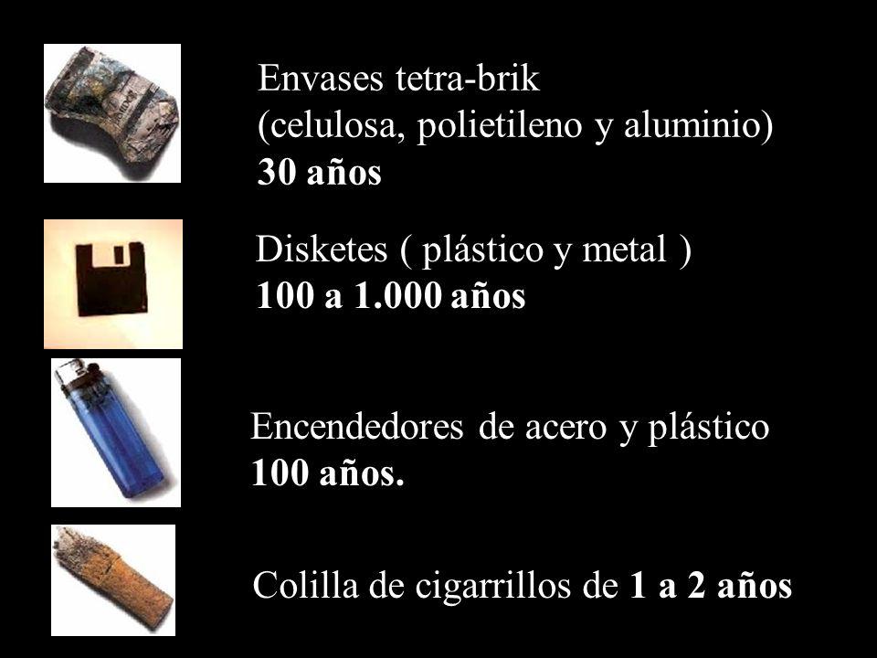 Envases tetra-brik (celulosa, polietileno y aluminio) 30 años. Disketes ( plástico y metal ) 100 a 1.000 años.