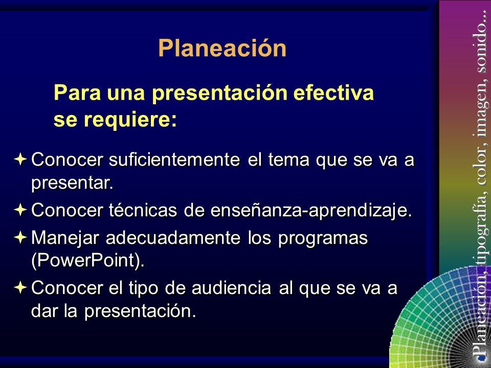 Planeación Para una presentación efectiva se requiere: