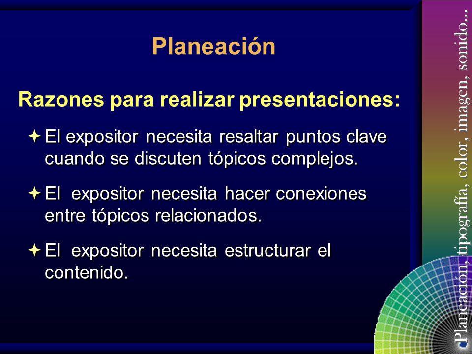 Planeación Razones para realizar presentaciones: