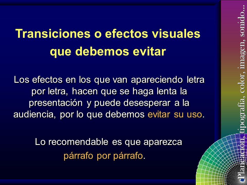 Transiciones o efectos visuales