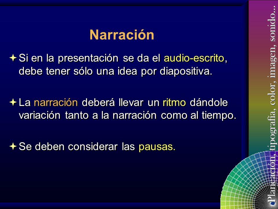 Narración Si en la presentación se da el audio-escrito, debe tener sólo una idea por diapositiva.