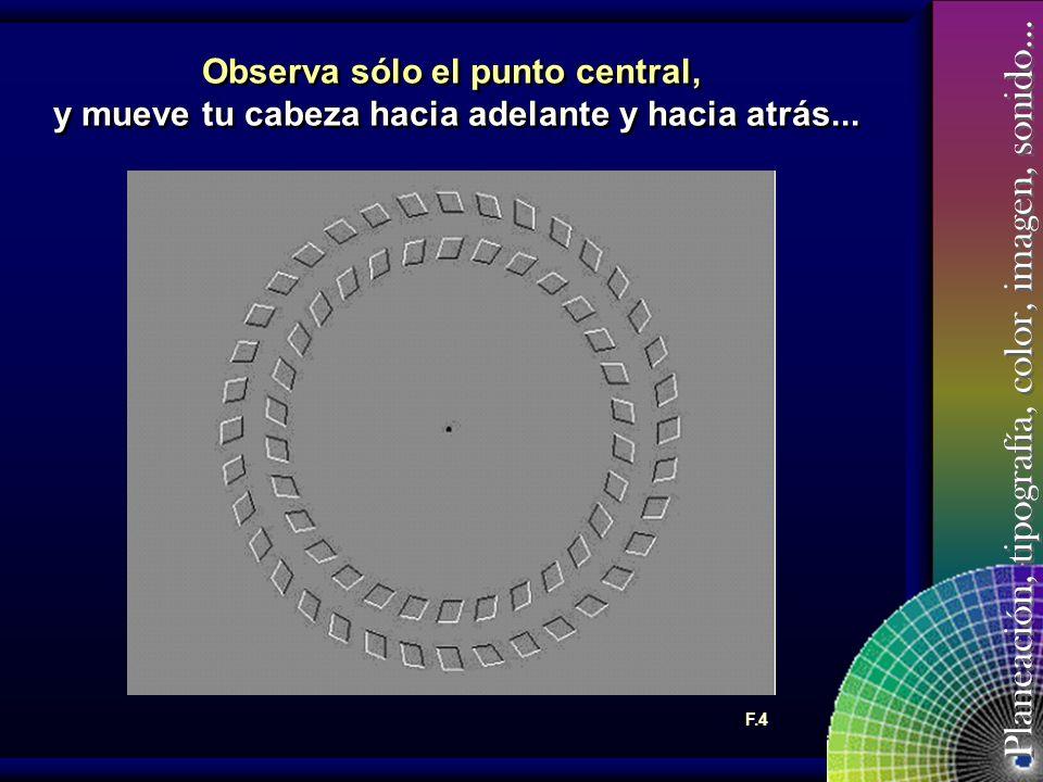 Observa sólo el punto central, y mueve tu cabeza hacia adelante y hacia atrás...