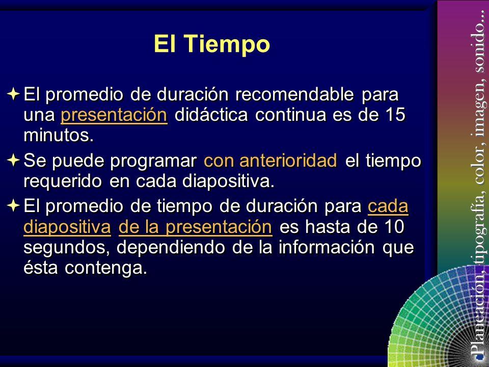 El Tiempo El promedio de duración recomendable para una presentación didáctica continua es de 15 minutos.