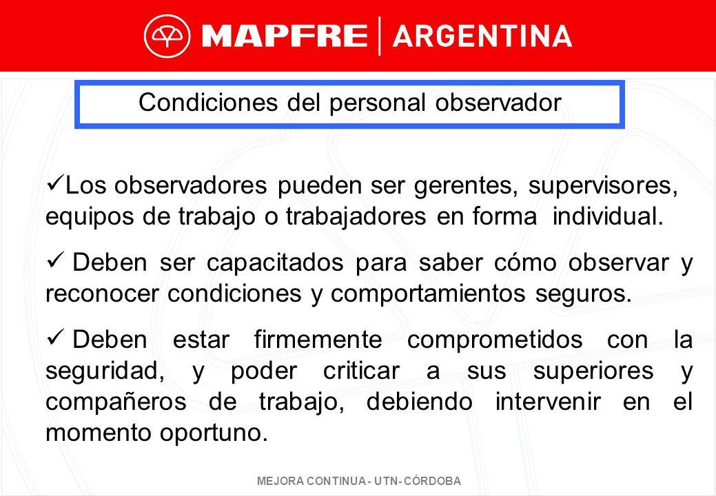 Condiciones del personal observador