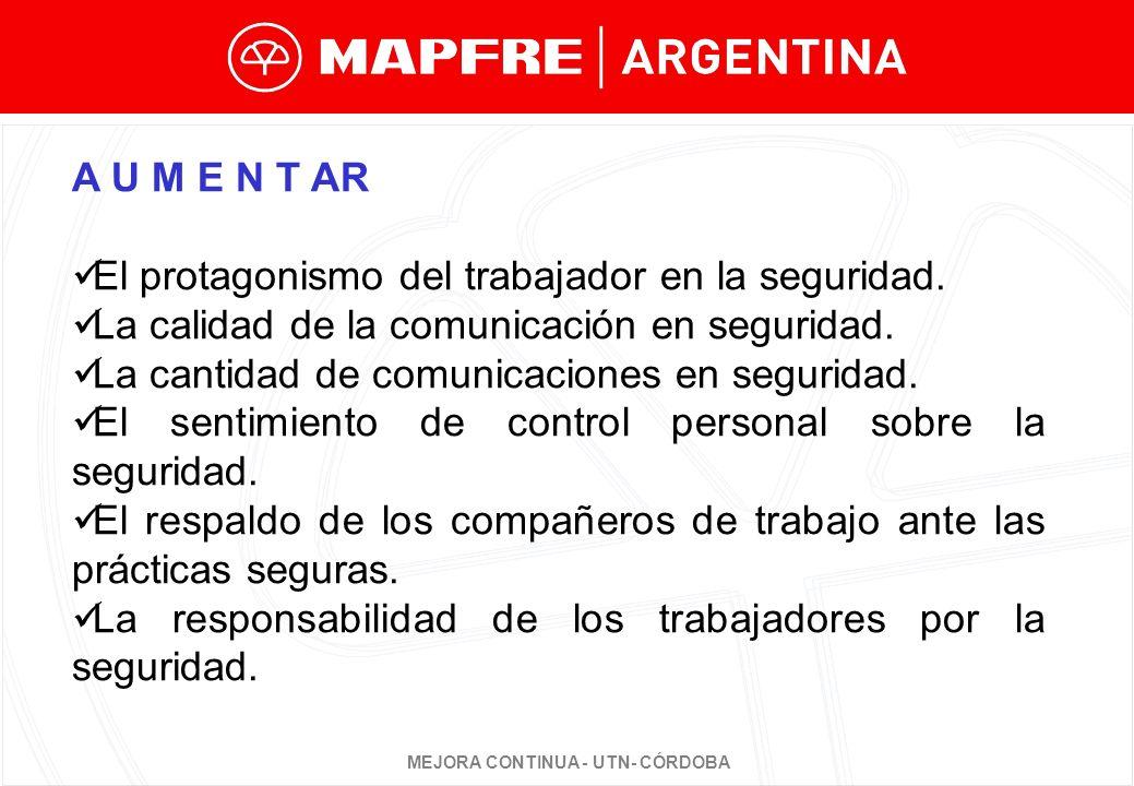A U M E N T AR El protagonismo del trabajador en la seguridad. La calidad de la comunicación en seguridad.