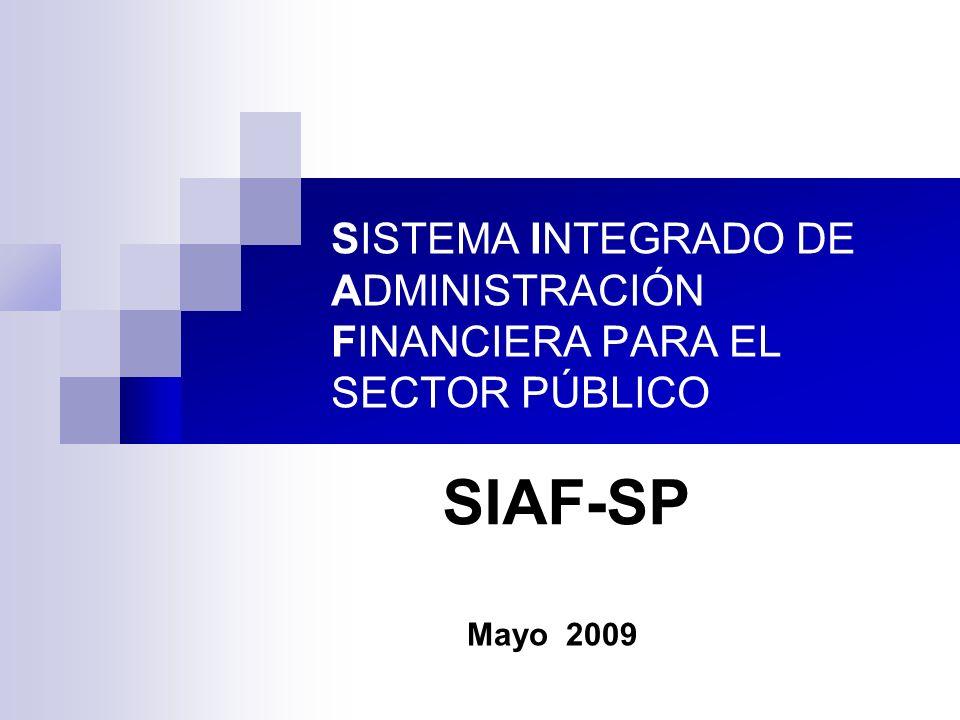 SISTEMA INTEGRADO DE ADMINISTRACIÓN FINANCIERA PARA EL SECTOR PÚBLICO