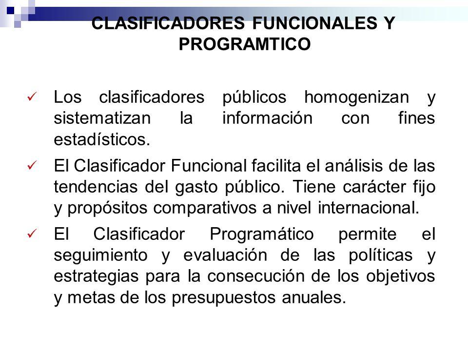 CLASIFICADORES FUNCIONALES Y PROGRAMTICO