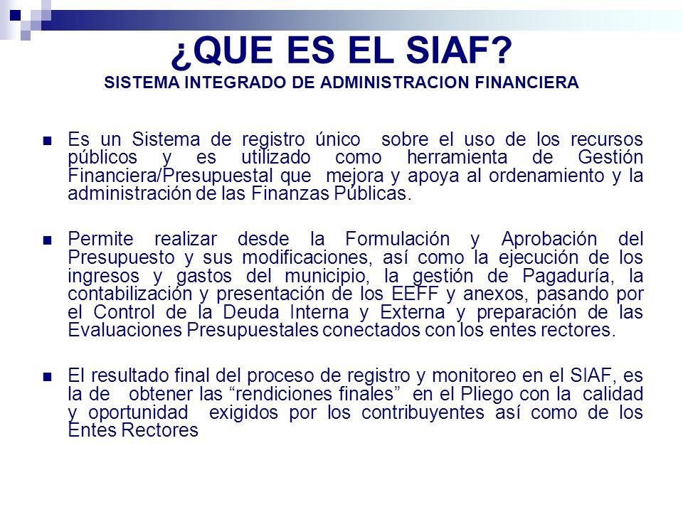 ¿QUE ES EL SIAF SISTEMA INTEGRADO DE ADMINISTRACION FINANCIERA