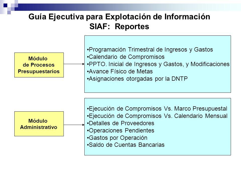 Guía Ejecutiva para Explotación de Información SIAF: Reportes