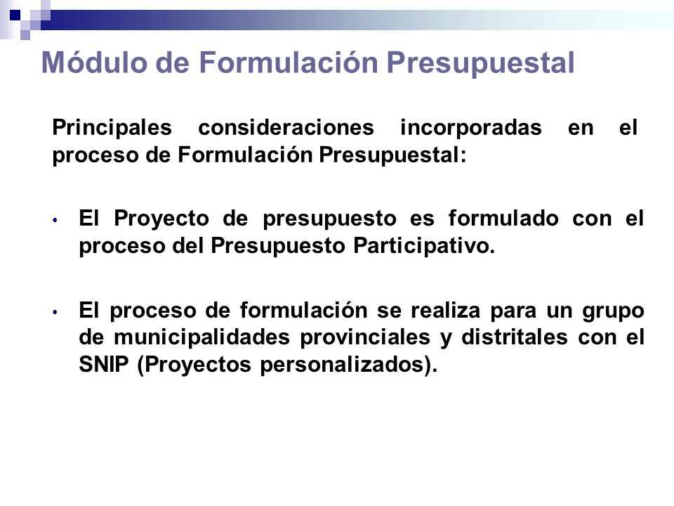 Módulo de Formulación Presupuestal