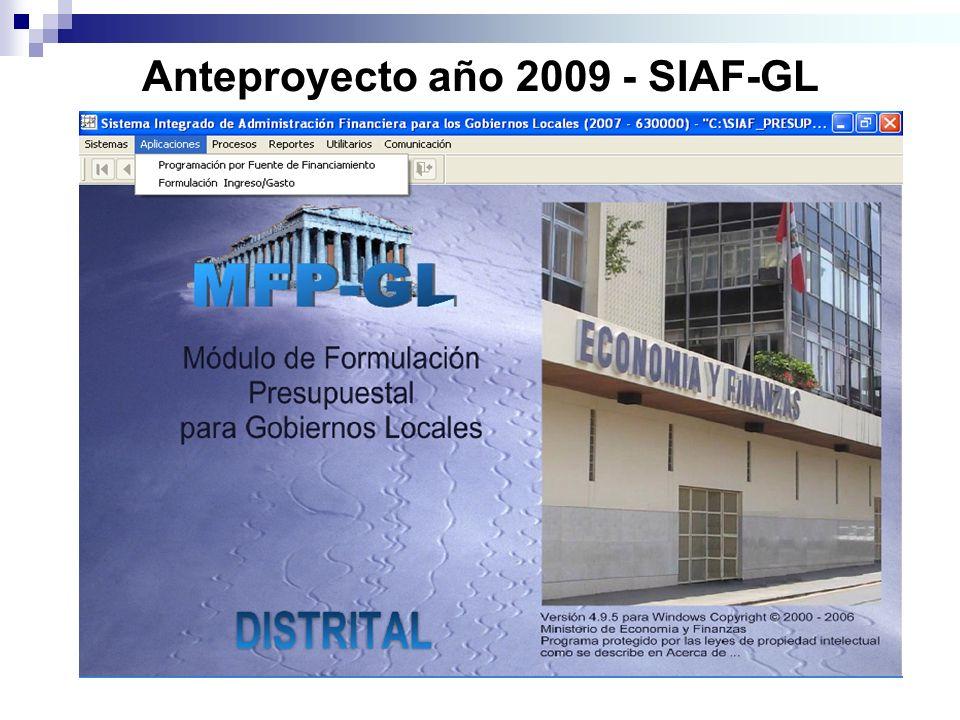 Anteproyecto año 2009 - SIAF-GL