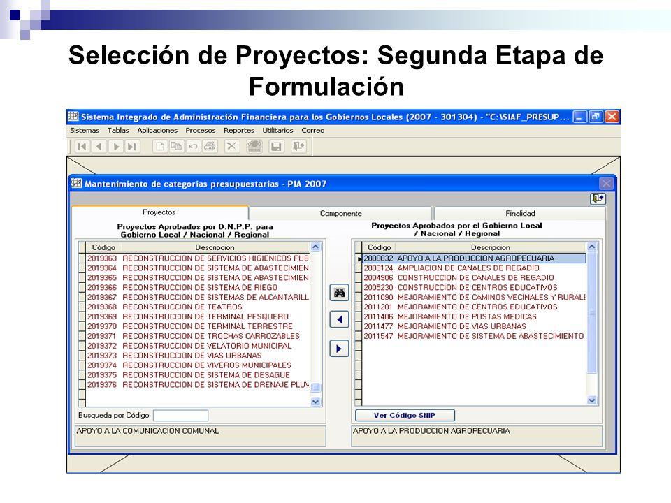 Selección de Proyectos: Segunda Etapa de Formulación