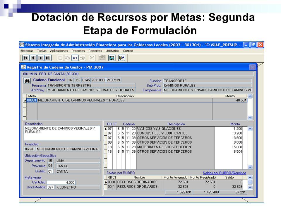Dotación de Recursos por Metas: Segunda Etapa de Formulación