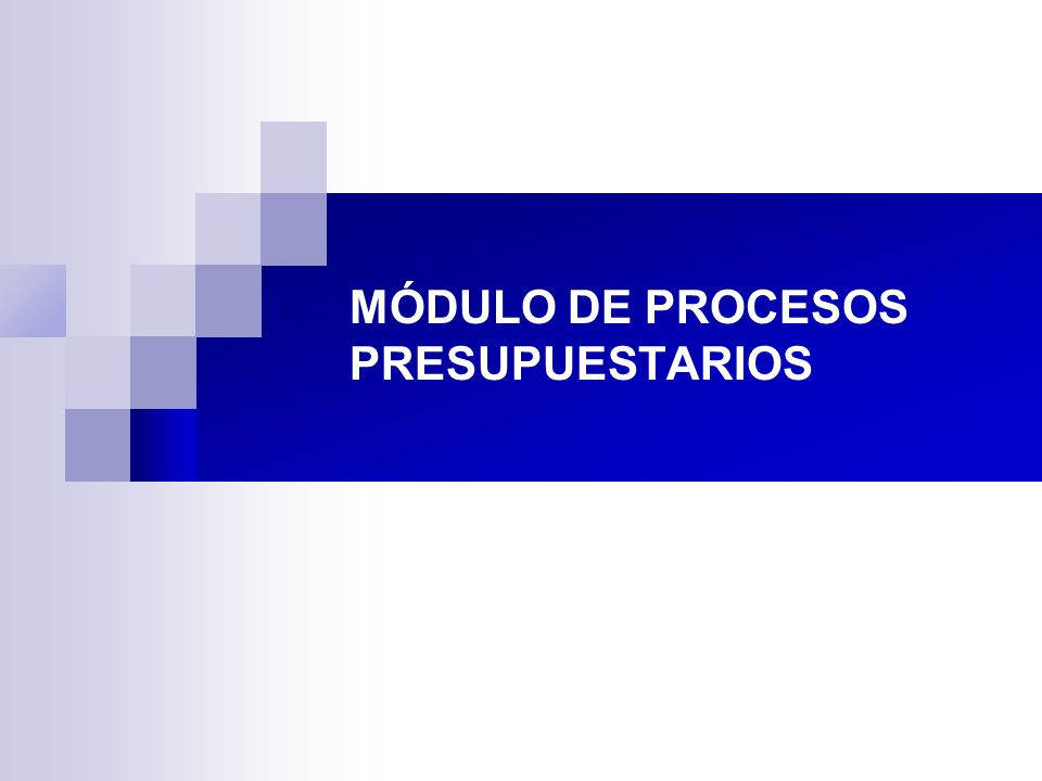 MÓDULO DE PROCESOS PRESUPUESTARIOS