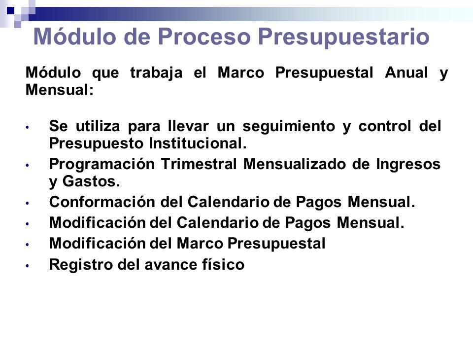 Módulo de Proceso Presupuestario