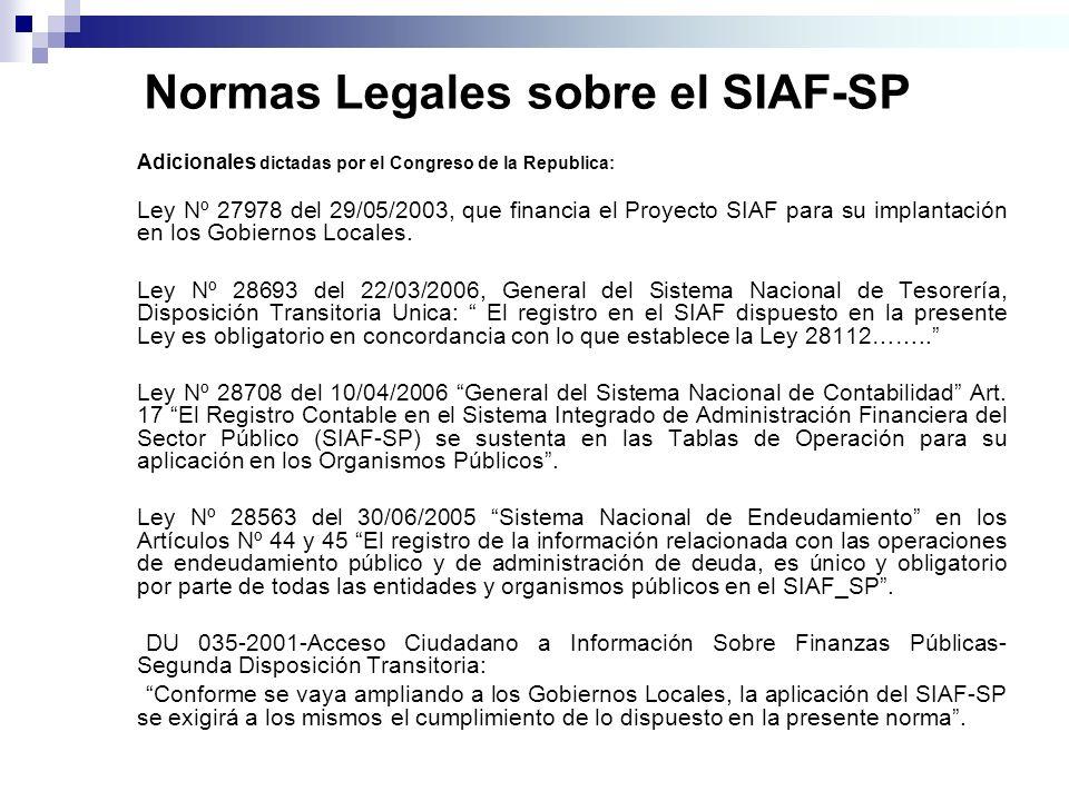 Normas Legales sobre el SIAF-SP