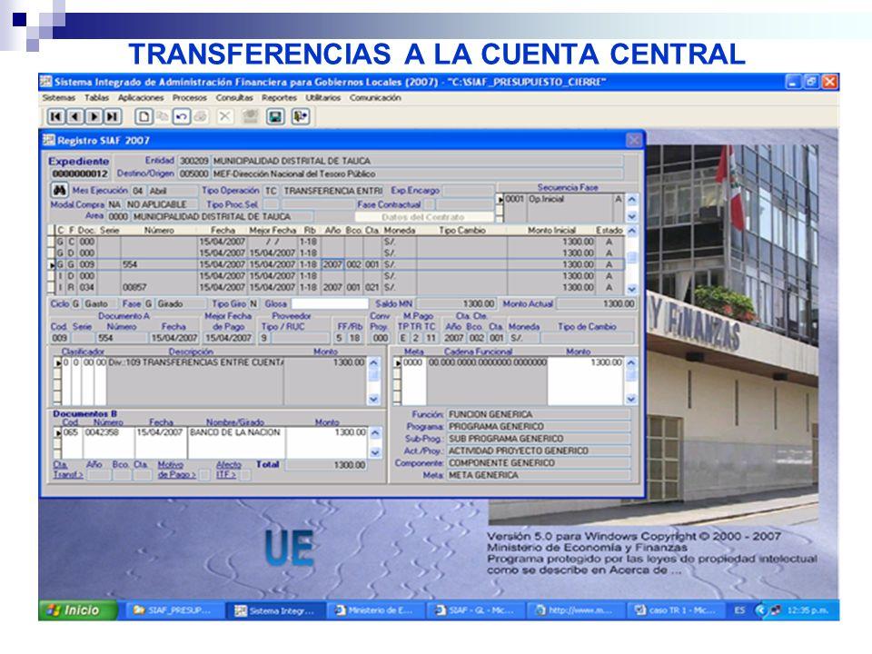 TRANSFERENCIAS A LA CUENTA CENTRAL