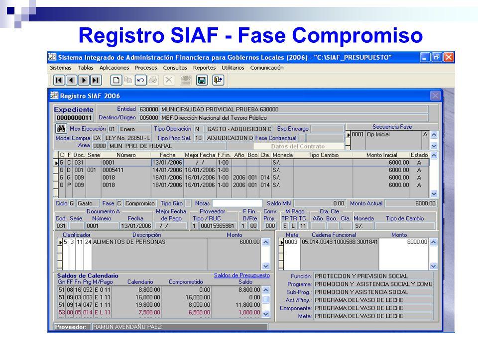 Registro SIAF - Fase Compromiso