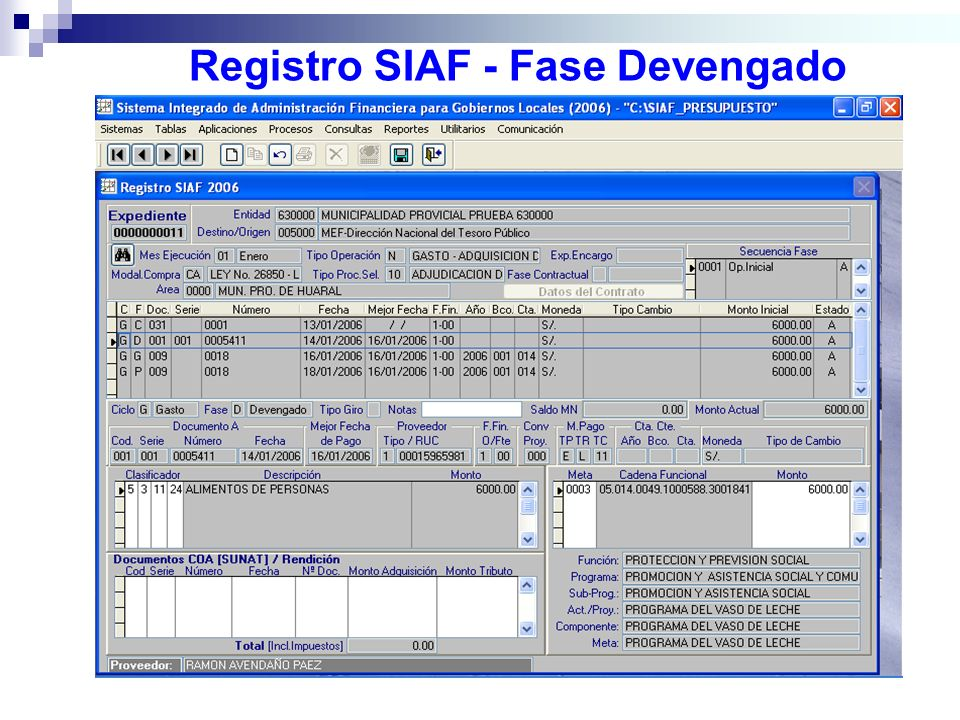 Registro SIAF - Fase Devengado