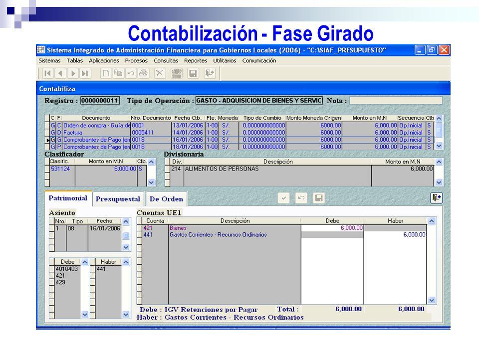 Contabilización - Fase Girado